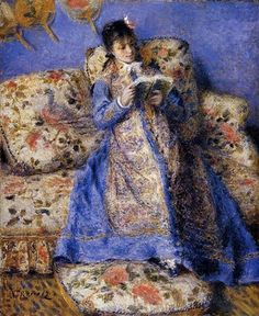 """""""Camille Monet Reading"""" (1872) by Pierre Auguste Renoir.  Camille was wife  and frequent model of Claude Monet, Renoir was friends to both and spent time    visiting and painting along-side Claude"""