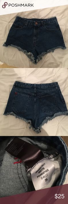 BDG cheeky hi rise shorts Medium wash cheeky hi rise shorts. They have a little bit of a 60's vibe to them. Only worn a couple of time. Spring is around the corner ;) BDG Shorts Jean Shorts