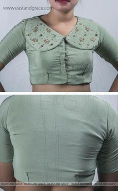 Sage Green Silk-Crepe Blouse with Zari Hand Embroidered Motifs