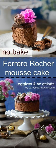 No bake Eggless Ferrero Rocher mousse cake is ridiculously easy to make with the step by step instructions given.This No bake Eggless Ferrero Rocher mousse cake is ridiculously easy to make with the step by step instructions given. Eggless Desserts, Eggless Recipes, Eggless Baking, Chocolate Desserts, Just Desserts, Baking Recipes, Delicious Desserts, Dessert Recipes, Spanish Desserts