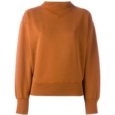 Isabel Marant Étoile 'Bailee' sweatshirt (£155) ❤ liked on Polyvore featuring tops, hoodies, sweatshirts, mock neck top, long sleeve tops, mock neck sweatshirt, brown tops and brown sweatshirt