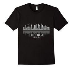 Chicago T-Shirt City Skyline Landmark Souvenir Home Love Tee