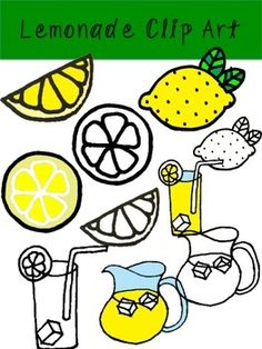 Free Lemonade Clip Art!  Description: These graphics are all hand-drawn and made with love! They are a perfect accessory to any Spring or Back-To-School Handout, Powerpoint, or just for fun! Included are 10 high quality images, black and whites are included! Classroom Clipart, Fruit Illustration, Free Teaching Resources, Lemon Print, Tropical Design, Relief Society, Chalkboard Art, Art Background, School Projects