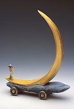 """Crescent Moon Boat by Dona Dalton (Wood Sculpture) (11"""" x 5.5"""")"""