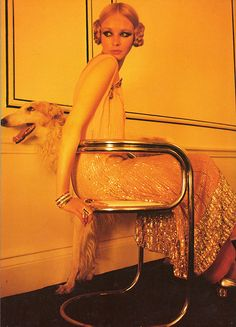 """""""1960's Deco"""", Norman Parkinson for Vogue, 1969 Vintage 20s peach chiffon dress, embroidered with silver bugle beads."""