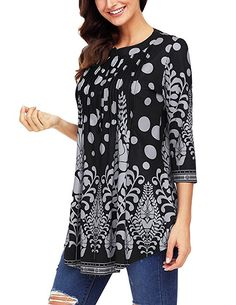 065d5b8202f Ray-JrMALL Womens Sleeve Roundneck cute summer blouses / dressy womens tunic  tops Stylish womens summer tunic tops / Chic Fashion for Women