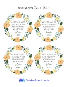 What should you give as a resident gift during the spring? These tags are a great option! Attach these tags to flower seeds or paper flowers. Residents will appreciate this spring gift.