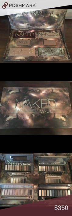 Urban Decay NAKED vault Both naked basics pallets have not been used. The other 4 have been just swatched on a couple colors. The box is in perfect condition. Urban Decay Makeup Eyeshadow