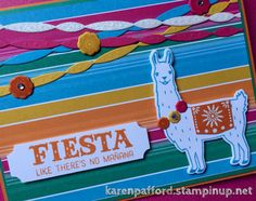 Llama love with the Birthday Fiesta stamp set/Framelits from Stampin' Up! And…