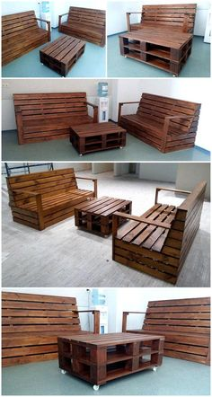 Salvaging wood pallets can serve you in various wonderful ways. Wood pallet couch is one of thought provoking project. Why to buy expensive furniture if there are budget friendly ways for your needs with the help of reused wood pallets. Pallett Garden Furniture, Outdoor Furniture Plans, Wood Pallet Couch, Wood Pallets, Diy Pallet Projects, Home Projects, Modern Interior Design, Modern Decor, Recycled Pallets