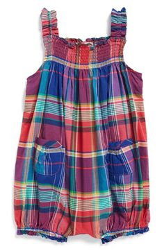 Ralph Lauren Madras Bubble Romper (Baby Girls) available at #Nordstrom