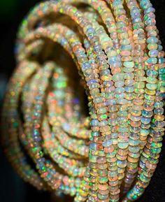 Repost from Lovely rainbow of opal beads :) Opal Jewelry, Unique Jewelry, Jewellery, Jewelry Accessories, Jewelry Design, My Birthstone, Chandelier Earrings, Gold Earrings, Opal Gemstone