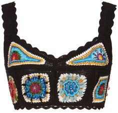 Dolce & Gabbana turned to Italy's talented artisans to hand-crochet this fitted cropped top. Crochet Crop Top, Crochet Cardigan, Crochet Bikini, Crochet Jacket, Crochet Granny, Hand Crochet, Knit Crochet, Mode Crochet, Summer Patterns