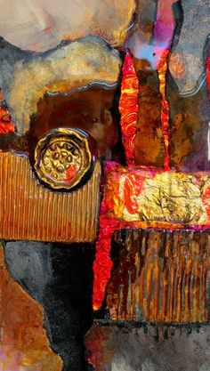 """CAROL NELSON FINE ART BLOG: Mixed media abstract painting, """"Medallion"""", by Colorado abstract artist Carol Nelson"""
