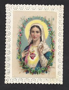 Antique Immaculate Heart of Mary Old French Lace by Divinegiftshop, $11.00