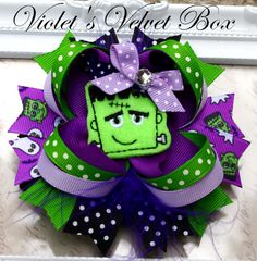 Halloween Hair Bow- FRANKENSTEIN Boutique Bow-  Luxurious bow by Violet's Velvet Box