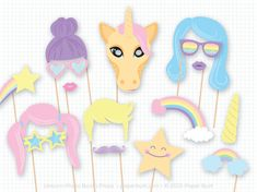A magical set of photo booth props! This listing is for a printable PDF of my unicorn-themed photo booth props. There are 18 fantastic and pastel