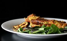 Vegan Richa: Chickpea flour Omelette with spinach, onion, tomato, bell peppers. Vegan Glutenfree Soyfree nutfree recipe