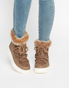 Image 1 ofASOS AUTO DRIVE Faux Fur Ankle Boots