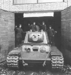 """bmashina: """"KV-1 with additional armor of the tower after repairs leaving the workshop of the Moscow plant. """""""