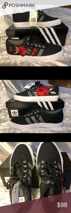 Adidas skate Aldi ease w red embroidered roses NWT
