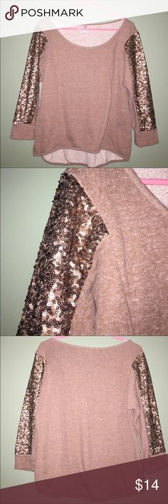 Gold Sequin Sweater 3/4 sleeve sweatshirt material shirt. Sequins on sleeves. Perfect for the holidays !! In perfect condition. Hardly worn. Sweaters Crew & Scoop Necks