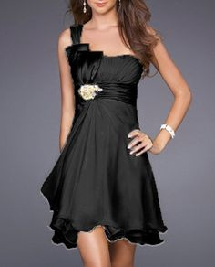 Sexy Black A-Line One Shoulder Short Chiffon Bridesmaid Dress (HOD218)    theres like 50 colors to choose from