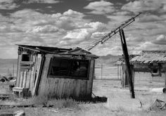 Abandoned Building in Utah Ghost Town - Cisco, Utah Black and White Photography by Lost Kat Photography #ghosttown #abandoned #utah #clouds #fineartphoto #photography