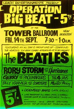 """The Beatles - Tower Ballroom, New Brighton."" Fantastic A4 Glossy Art Print Taken from A Vintage Concert Poster by Design Artist http://www.amazon.co.uk/dp/B01563VLH6/ref=cm_sw_r_pi_dp_T3s8vb1KD4B9X"