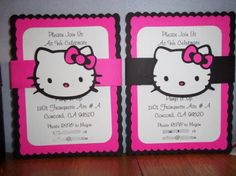 The purr-fect way to invite all your friends to your Birthday Party!     You are purchasing 10 Custom Hello Kitty invitations. You may choose between 10 Hello Kitty Invitations made with 2 layers of h