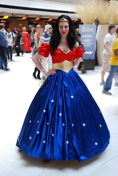 Wonder Woman Ball Gown Cosplay-this might be the first time in history that a full length ball gown is more utilitarian than a person's everyday attire.