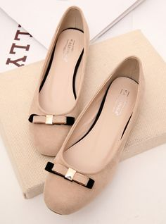 Forest School elegant retro bow spell color word small flat head shallow mouth single shoes heel shoes new shoes Zhuang