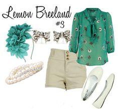 Lemon Breeland Outfit 3: Daisy blouse, khaki shorts, glitter flats, pearl bracelet, flower headband, bow studs