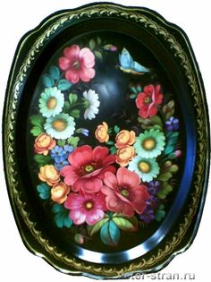 жостовский венок - Google Search One Stroke Painting, Tole Painting, Painted Boxes, Hand Painted, Decoupage, Russian Folk Art, How To Make Paint, Hanging Art, Creative Art