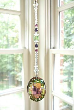 "NEW -Vitrail Oval Swarovski Crystal Car Charm, Rainbow Maker -""AURORA"" Shades of Green, Purple and Fuchsia, 6"" Long Rearview Mirror Ornament"
