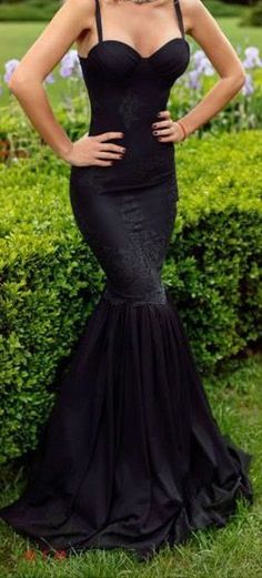 Black Spaghetti Straps Prom Dress,Lace Evening Dress,Sleeveless Party Dress,Braces prom dress,Fishtail dress