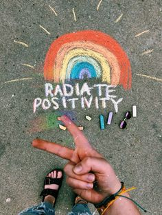 #positive #rainbow #summer #chalk #puravida #birkenstock #sunglasses #peace #radiatepositivity #vsco #art #happy #quote #words