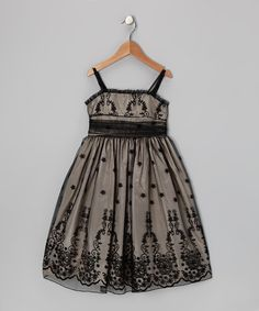 Another great find on #zulily! Black & Champagne Floral Dress - Toddler & Girls #zulilyfinds