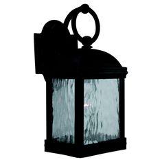 Sea Gull Lighting Branford 1-Light Outdoor Obsidian Mist Wall Fixture-88190-802 at The Home Depot; 14x9.5