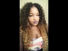 EASY OMBRE Look with CROCHET BRAIDS FREETRESS DEEP TWIST WEAVE - YouTube