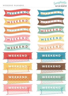 Scraptastic Club November 2016 Plan On It - Weekend Banners Sampler Planner Sticker Sheet. These stickers are perfect for the Erin Condren Life Planner, The Happy Planner, Filofax, Carpe Diem and more planners!