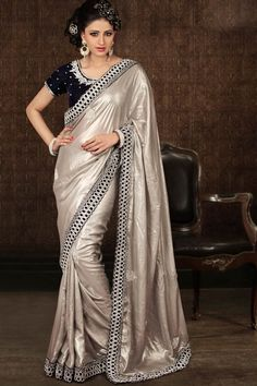 light sarees   Light Silver Gray Shimmer Georgette Embroidered Saree