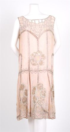 Pink Beaded Flapper Dress,   1920s,