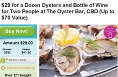 a Dozen Oysters and Bottle of Wine at The Oyster Bar, CBD IN adelaide Two People for $29 , Up to $70 Value  14 East Tce Adelaide 5000  http://digbargain.com.au/coupon/a-dozen-oysters-and-bottle-of-wine-at-the-oyster-bar-cbd-in-adelaide-two-people-for-29/