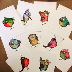 A flock of Crazy Birds just waiting to be made into cards! I can see them now used in a Card in a Box popping out all over the place!