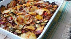 """""""Briam is a traditional Greek roasted vegetable dish with potatoes, zucchini, tomatoes, and red onions with lots of olive oil. It is a typical example of Greek cuisine where a few simple ingredients … Vegetable Dishes, Vegetable Recipes, Vegetarian Recipes, Delicious Recipes, Diet Recipes, Summer Squash Casserole, Zucchini Casserole, Crockpot, Briam"""
