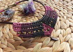 macrame black pink and dark purple necklace boho by QuetzArt