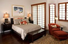 I like the additional screened windows and doors, as well as the simple layout. Asian inspired bedroom