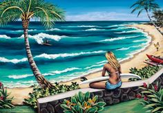 Surf lesson with a hot woman causes confusion between couples Hawaiian Art, Tropical Art, Surf Art, Surfs, Beach Art, Snowboard, Bunt, Cool Art, Original Paintings