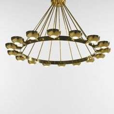 Gino Sarfatti, Brass and Frosted Glass Chandelier for Arteluce,